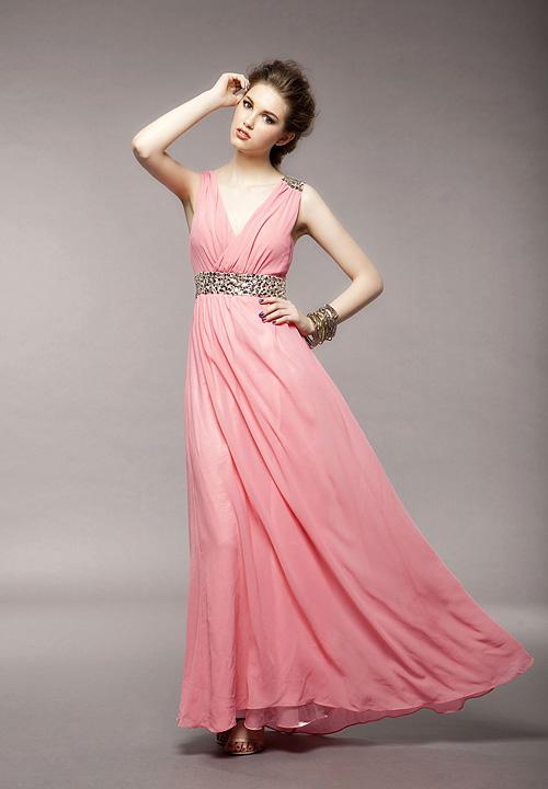 Фото платья в греческом стиле розовое