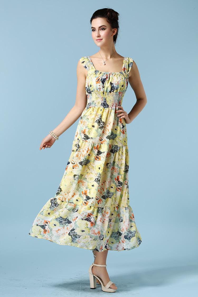 Платье желтое резинка