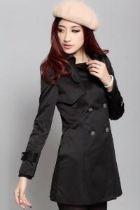 '.Модное черное пальто классического кроя .'
