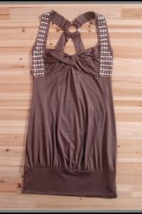 Коричневое мини-платье