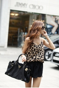 Леопардовый короткий комбинезон