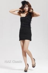 '.Мини-платье черного цвета с шифоновым декором (размер М) .'