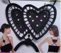 Черные бретели с кружевными сердечками