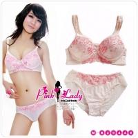 Розовый комплект, украшенный вышивкой (размер 70В)