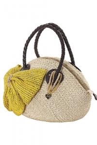 Соломенная сумка с бантом