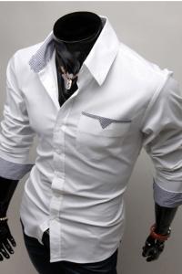 '.Белая рубашка с двухсторонними манжетами .'