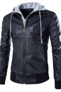 '.Кожаная куртка с контрастным капюшоном .'