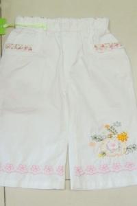Брючки для девочки белые с вязанным рисунком (2 года)