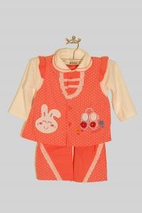 '.Костюм - тройка для девочки с зайчиками в горошек (12 мес) .'