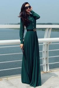'.Зеленое платье в пол с длинным рукавом .'