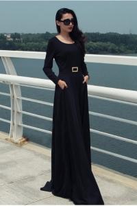 '.Черное длинное платье с карманами .'