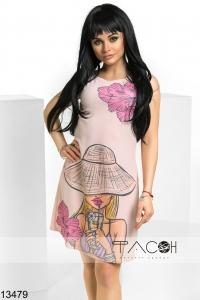 '.Платье с принтом девушки .'