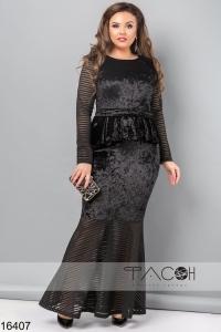 '.Бархатное платье с баской .'