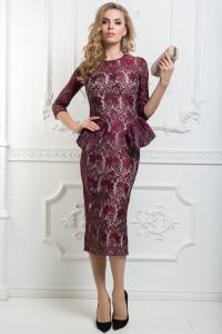 '.Гипюровое платье с баской .'