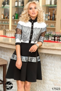 '.Коктейльное платье с гипюром .'