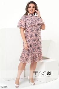 Льняное цветочное платье