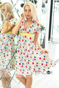 '.Цветочное платье с вырезом .'
