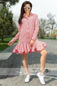 '.Платье с цветочной вышивкой .'