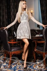 '.Платье с длинным гипюровым рукавом .'
