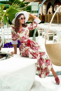'.Нежное длинное платье в модный цветочный принт .'