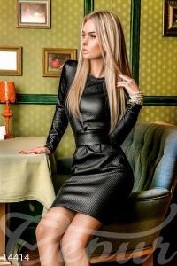 '.Яркое кожаное платье .'