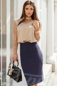 '.Комбинированная шелковая блуза .'