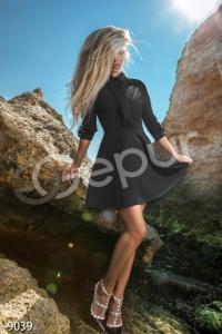 '.Платье Бекхем с контрастным воротником и манжетами .'